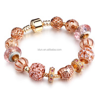 Authentic Rose Gold Clasp European Charms Love Mom Heart Bracelet Hollow Love Spacer Beads Bracelet