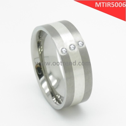 Titanium base New design men wide rings silver and diamond jewelry