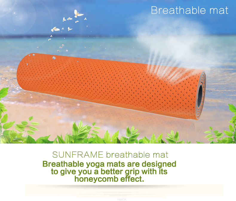 6mm TPE eco yoga mat with carry strap breathable tpe yoga mat rolls mat great color easy washable yoga mat manufacturer