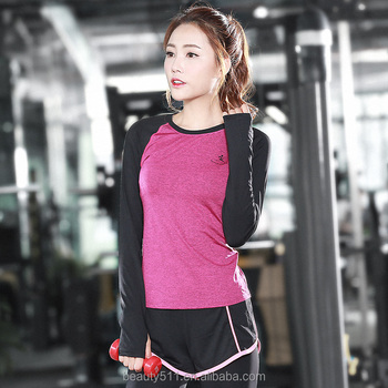 2018 Women casual top sports long sleeve jogging exercise muscle t shirt