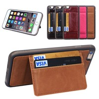 Royal Brown HOT Multifunction Slim Leather Case for iPhone 6 Plus cover With Credit Card Slot,for iphone 6 plus case with Stand
