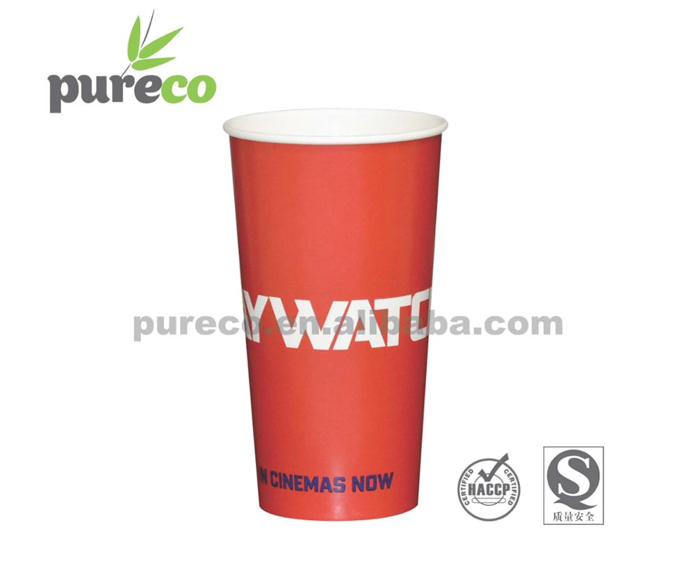 24oz big and red cold drink paper cup for soft drink