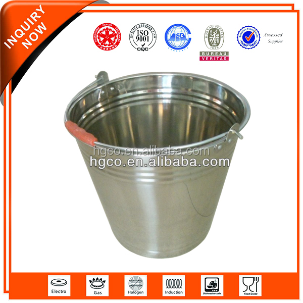 High grade mirror polished stainless steel sanitary bucket