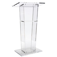 Easy Assembly Clear Acrylic Podium for Floor with Open Back and Shelf