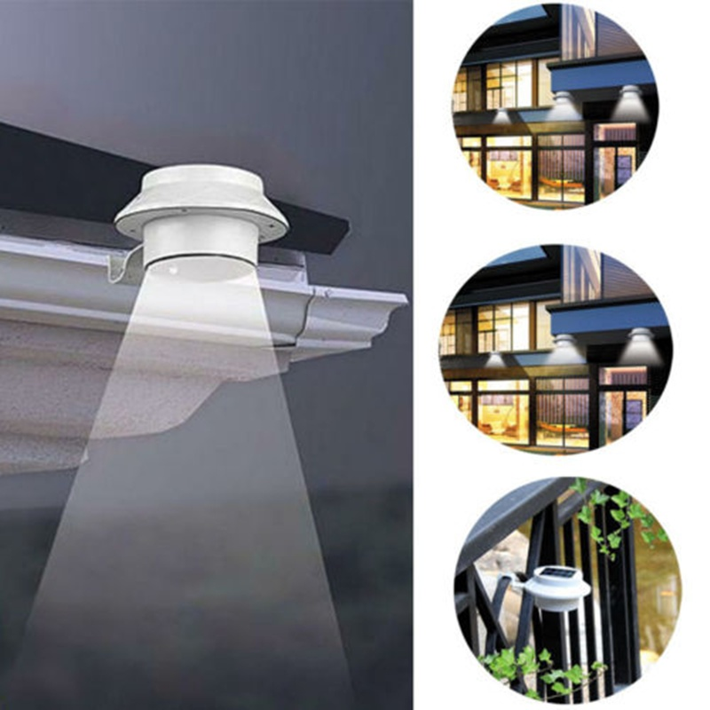 Outdoor Waterproof Solar Led Lights,Black Solar Gutter Power Powered 3 LED Light Outdoor Garden Fence Wall Bracket