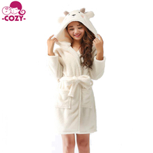2017 Spring Winter Wearing Cute Bear Bathrobe with Hood Soft and Warm Robe for Women with Pockets