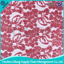 Polyester Floral Net Embroidery Fabric Design For Garment