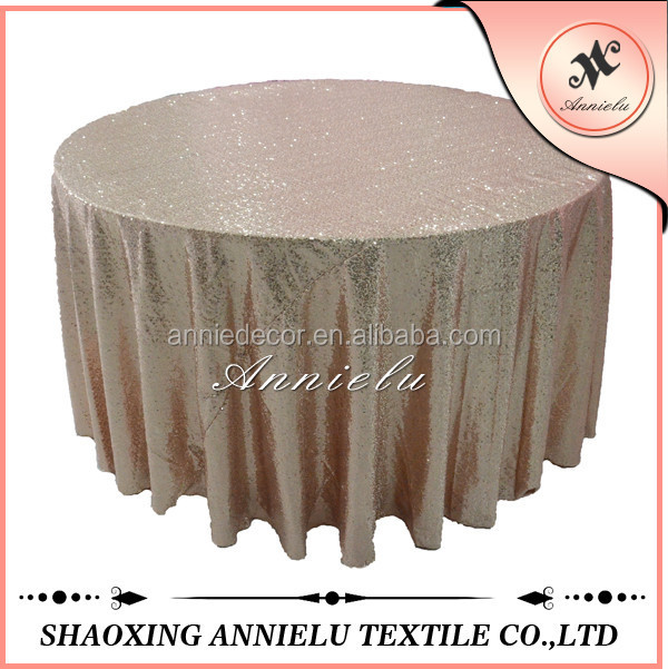 Fancy light gold embroidery wedding sequin table cloth