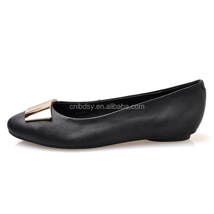 Lady flat close shoes for PU material under cemented shoes