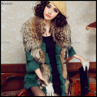Newest Long Modern Mink Fur Coat from China with raccoon Fur V Neck Collar Women Coat