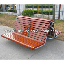 Custom made outdoor curved wood bench with backrest