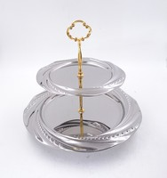 Stainless steel 2 Tier fancy silver cookie serving Trays
