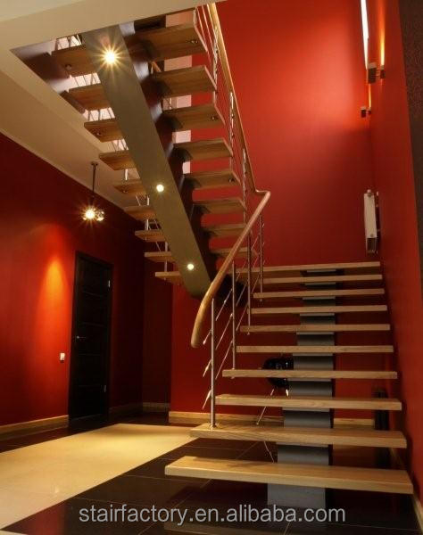 Steel-wood stairs Indoor steel solid wood staircase Interior LED luminous steel wood staircase L-361