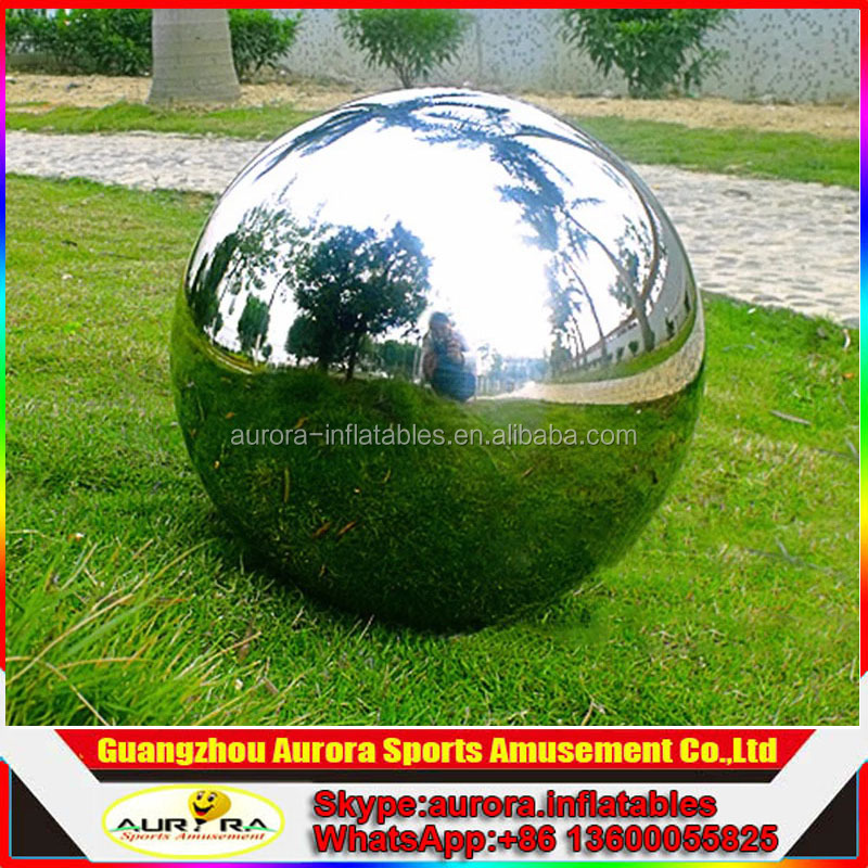 custom made double layer giant inflatable silver ball disco mirror ball for promotion