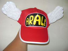 Promotional customized red baseball cap with printing logo&plush wings
