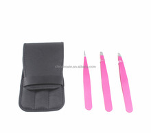 Stainless steel eyebrow tweezer set