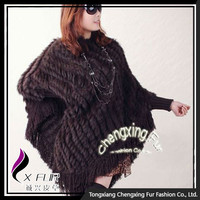 CX-B-37B Large Rabbit Fur Pullover Poncho For Lady
