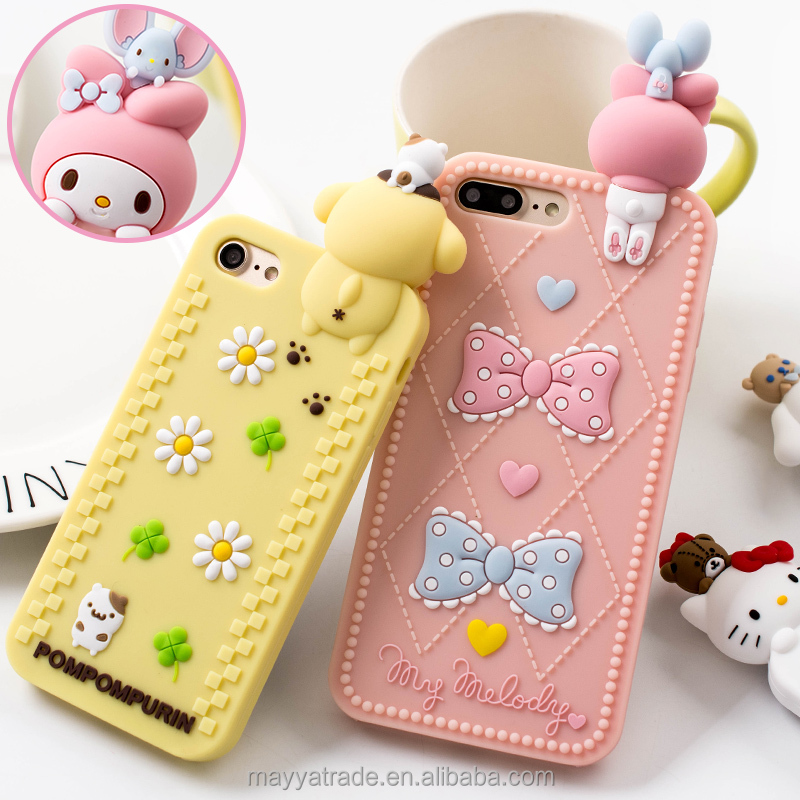 New Design Kitty Phone Cover 3D Cartoon Lovely Mobile Phone Silicon Case for iPhone 7 6