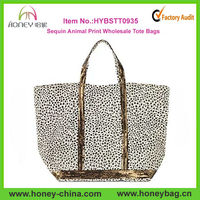 Medium Les Cabas Canvas Sequin Animal Print Wholesale Tote Bags