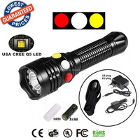 ALONEFIRE RX1-RWY CREE XPE Q5 LED Red White Yellow Police Railway Signal lamp light flashlight torches with Charger/holster