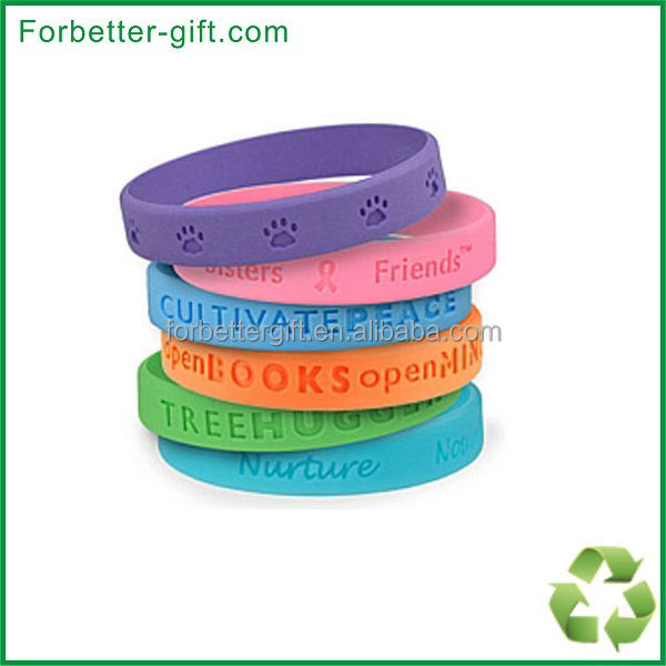 bulk colors debossed Silicone bands