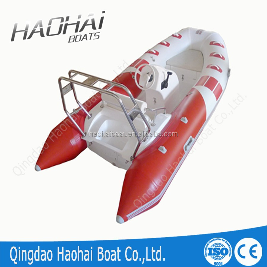 12.8ft 3.9m rigid hull inflatable rib boat with stainless steel roll bar