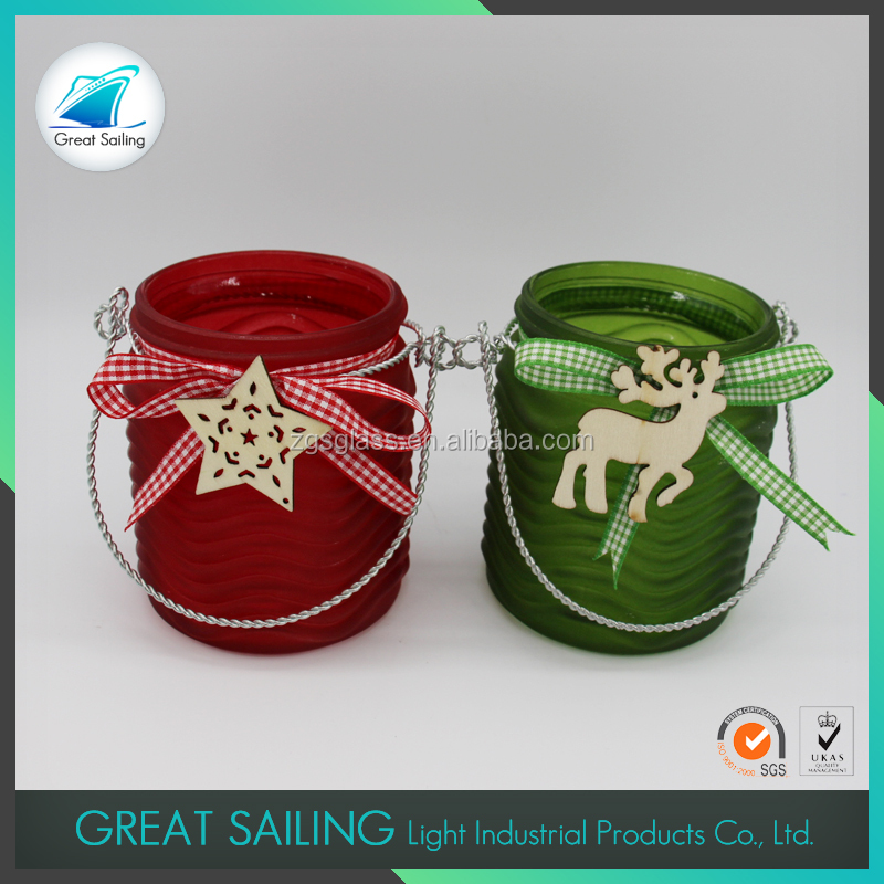 Red Green Color With Wooden And Silk Ribbon Decoration Glass Candle Holder With Handle For Christmas