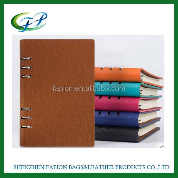 custom PU leather cover A5 6 ring binder weekly planner