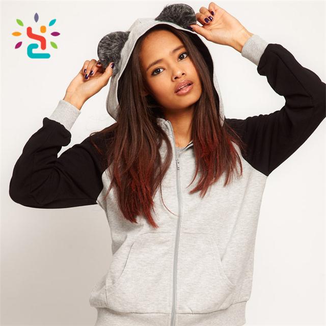 Ears Bears hoodie High quality women lady smart blank bulk animal hoodie Custom Cotton Plain Dyed Pullover clothes