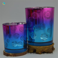 Gradient color mercury glass candlestick holders