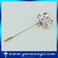 Hot sale sparkling crystal flower hijab pin with factory price muslim brooch hijab scarf pins B0366