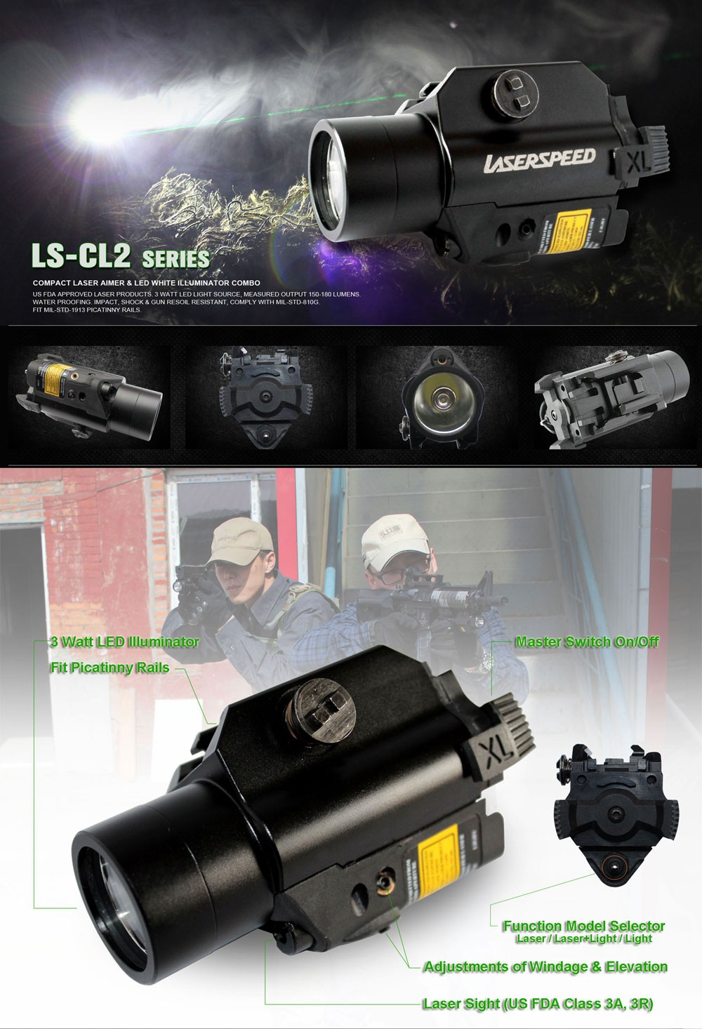 Tactical compact pistol flashlight and laser combo
