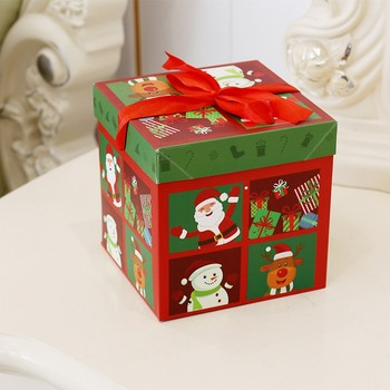 Decorative flat folding christmas boxes paper gift with lids for toys for candy