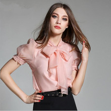 2017 spring women ladies elegant casual long sleeve silk blouses