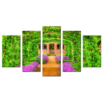Beautiful Courtyards Canvas Print Vibrant Gardern Giclee Artwork Wholesale Framed Canvas Printing For Interior Decoration