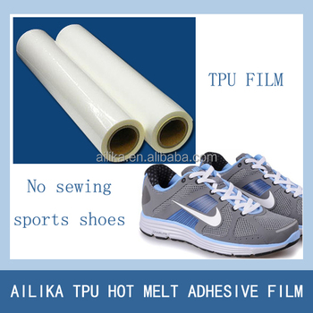 Low temperature hot melt adhesive film for footwear and leather