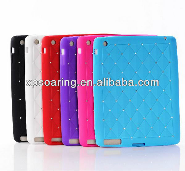 Bling bling silicon case rubber cover for the new ipad ipad 3