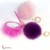 Wholesale Fashion Style Artificial Faux Fur Pom Pom Keychain With Mirror Glass Bag Charm Keyring For Bag/Car/Phone