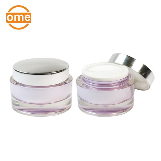 Fashion Design luxury cosmetic acrylic cream jar with transparent bottom