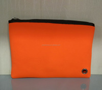 Custom orange neoprene material fashion travel clutch zipper makeup bag toiletry cosmetic pouch