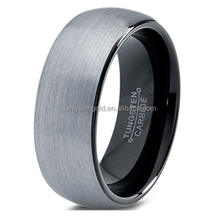 Black Enamel Domed Round Brushed Lifetime Guarantee Tungsten Wedding Band Ring 8mm for Men Women Comfort Fit