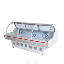 Curved glass supermarket cold display case for deli food/ fresh meat
