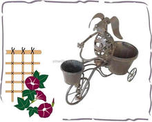 wholesale decorative bicycle metal dog with pot Garden Ornamental Planter