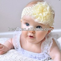 CF 0802 stretchy ivory lace organza flower crochet knitted headband for top baby