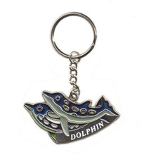Wholesale custom logo soft enamel metal Customize Key Chain Animal Dolphin Key ring