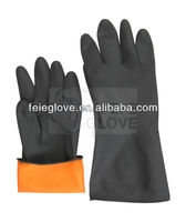 Black light weight latex industry safety gloves,with orange lined