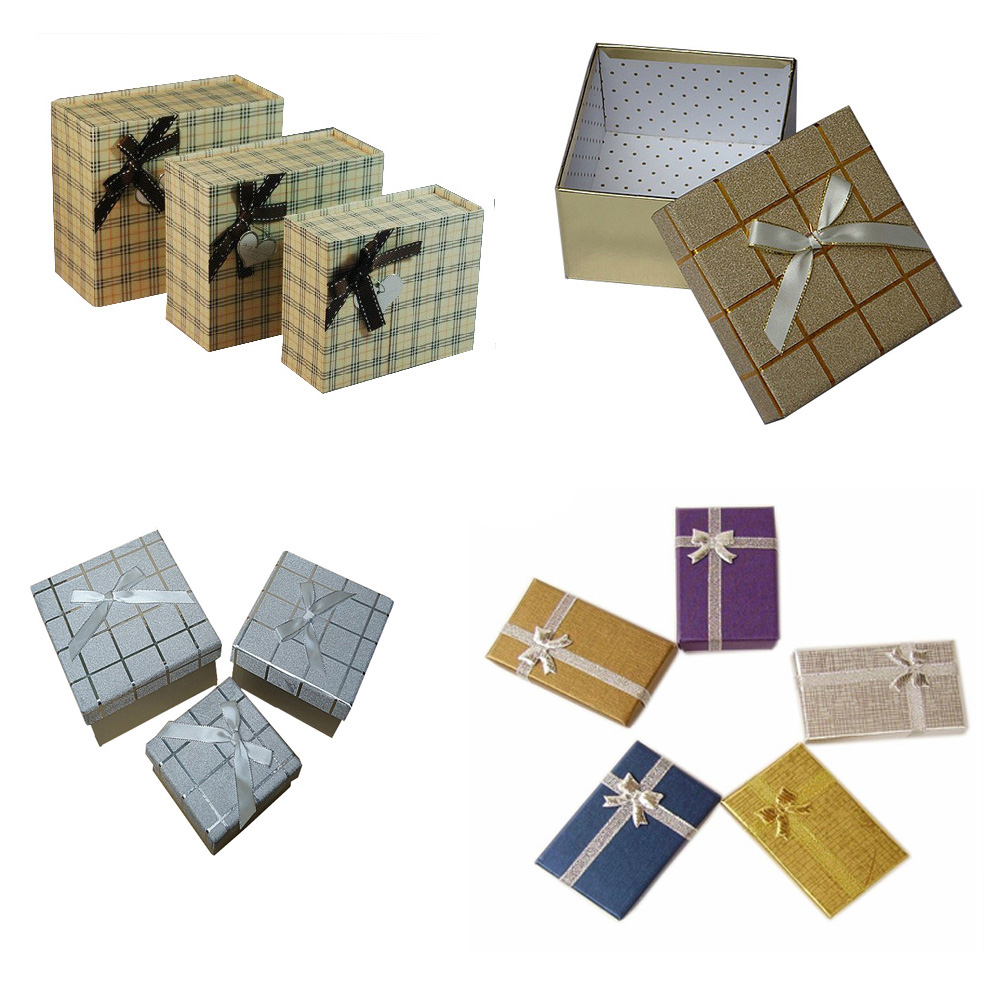 2016 New Products Jewelry earring bracelet ring gift box black square carton bow case package