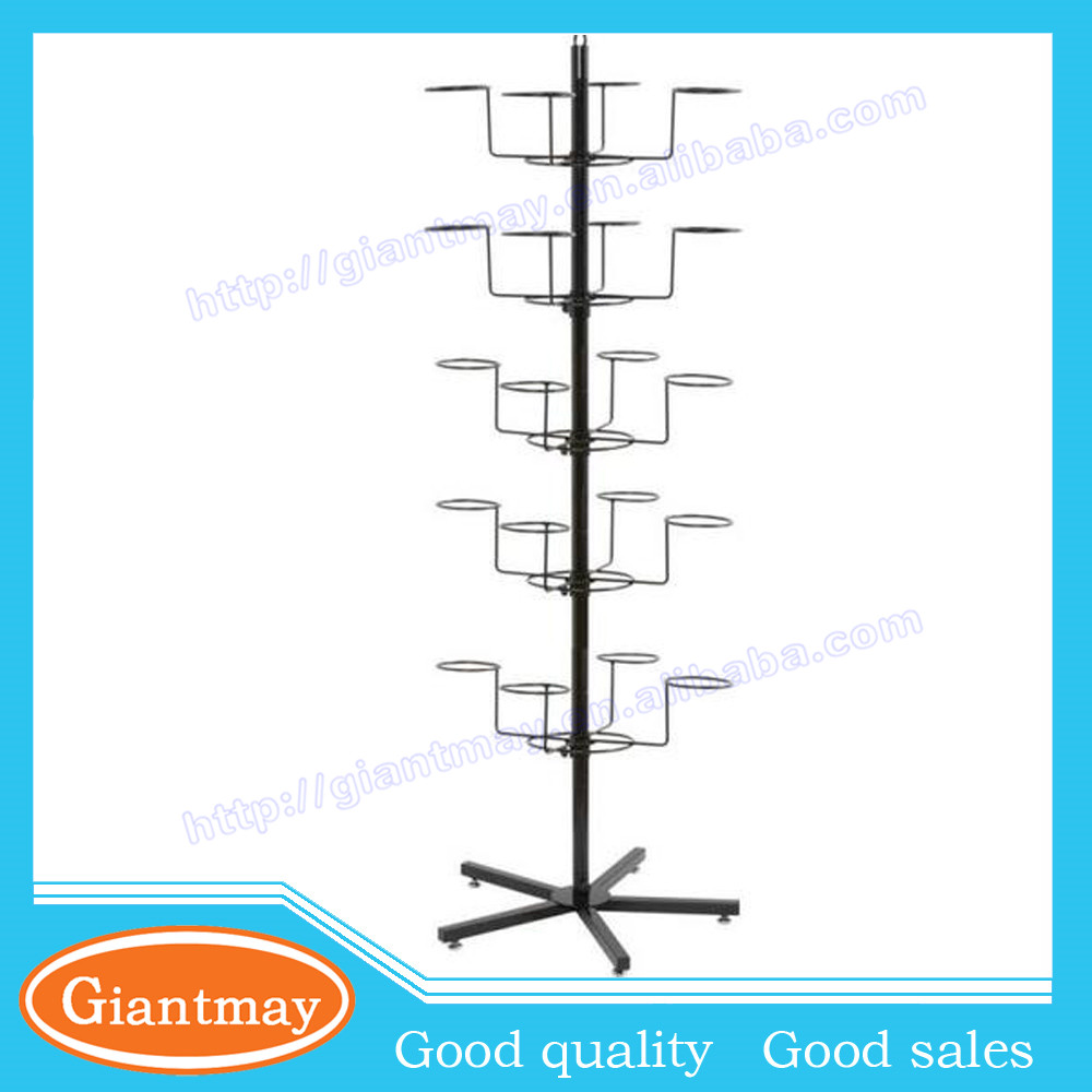 5 tiers metal rotating hat display wire racks