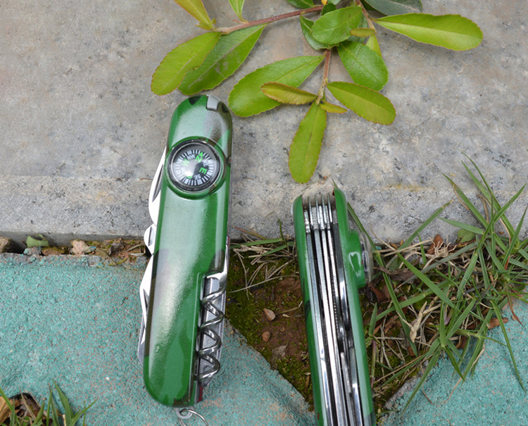 2017 The Latest Styles 14 Functions ABS Swiss Knife With Compass & Camouflage Green Handle