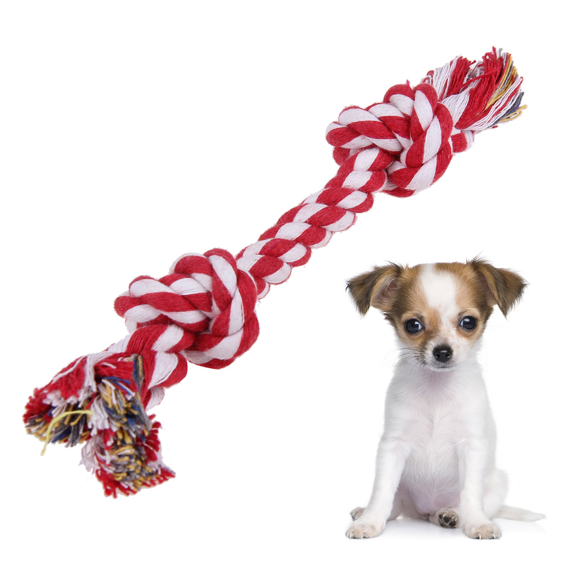 DIY Dog Tug Toys Cotton Chew Rope Knot Animal Durable Braided Bone Bites Rope Twisted Knot Gift For Small Dogs Teddy Toy
